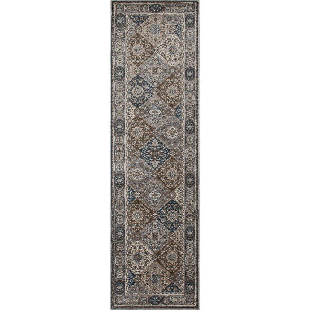 Arabella Comfort Panel Gray 2 ft. x 8 ft. Runner Rug
