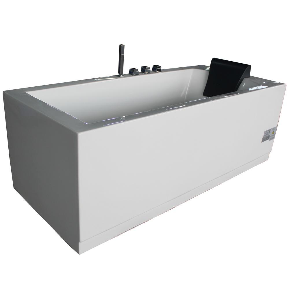 60 in. Acrylic Flatbottom Whirlpool Bathtub in White