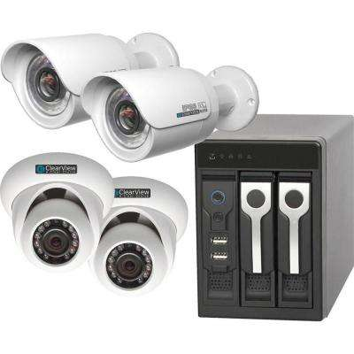 4-Channel 1080p 500GB Hard Drive Phoenix View Surveillance System with 2 Dome and 2 Bullet IP Megapixel Camera