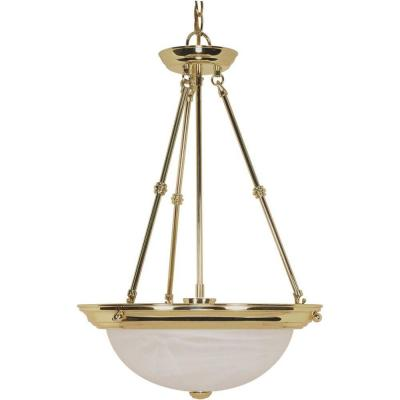 Elektra 3-Light Polished Brass Pendant with Alabaster Glass