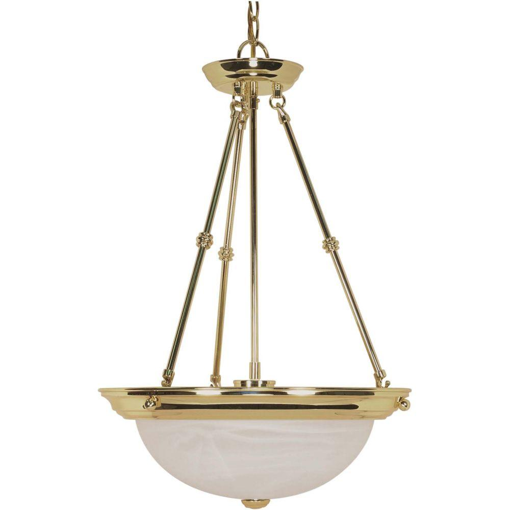 Glomar Elektra 3-Light Polished Brass Pendant with Alabaster Glass