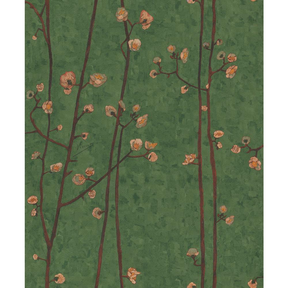 Hunter Green Plum Branches Wallpaper