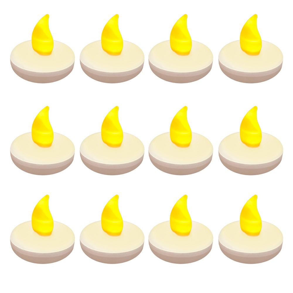 1.25 in. x 1.25 in. x 1.25 in. Amber Floating LED Tea Light Candle (12-Count), White