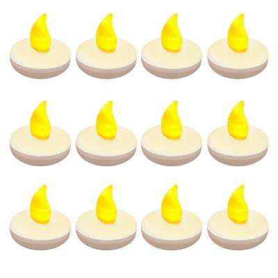 1.25 in. x 1.25 in. x 1.25 in. Amber Floating LED Tea Light Candle (12-Count)