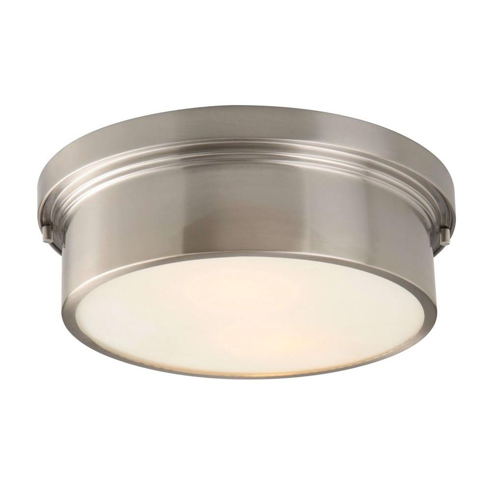 Hampton Bay Oxnard 13 in. 2-Light Brushed Nickel Round Flushmount with Glass Shade