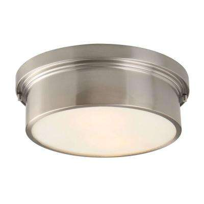 Oxnard 13 in. 2-Light Brushed Nickel Round Flushmount with Glass Shade