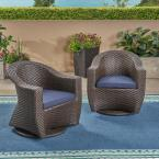 Larchmont Multi-Brown Swivel Wicker Outdoor Lounge Chair with Navy Blue Cushion (2-Pack)