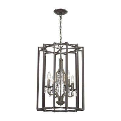 Belgique 4-Light Oil Rubbed Bronze and Malted Rust Chandelier
