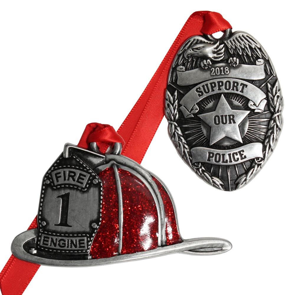 gloria duchin hometown heroes fire and police ornament set