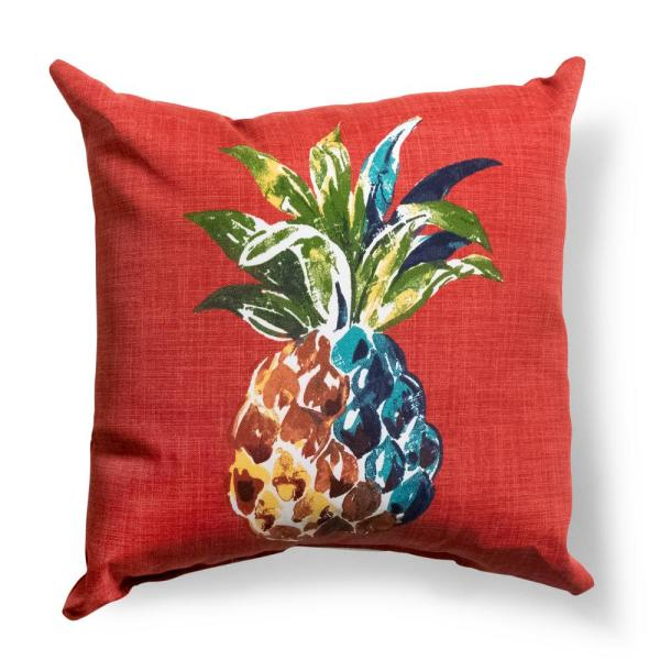 Hampton Bay Chili Pineapple Square Outdoor Throw Pillow 7680 04525611 The Home Depot