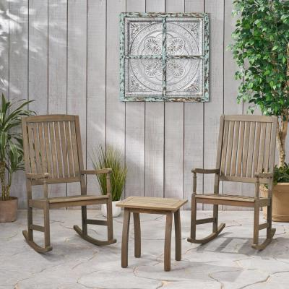 Arcadia Grey 3-Piece Wood Patio Conversation Seating Set