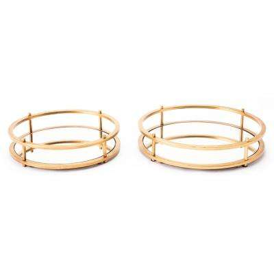 Gold Mirrored Trays (Set of 2)