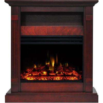 Sienna 34 in. Electric Fireplace Heater in Cherry with Mantel, Enhanced Log Display and Remote Control