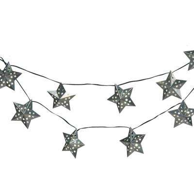 Metal Star 14-3/4 ft. LED Solar String Light Set with Stake