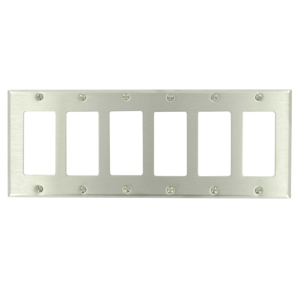Leviton Stainless Steel 6 Gang Decorator Rocker Wall Plate 1 Pack 84436 40 The Home Depot