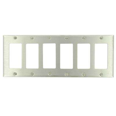 6-Gang Decora Wall Plate, Stainless Steel