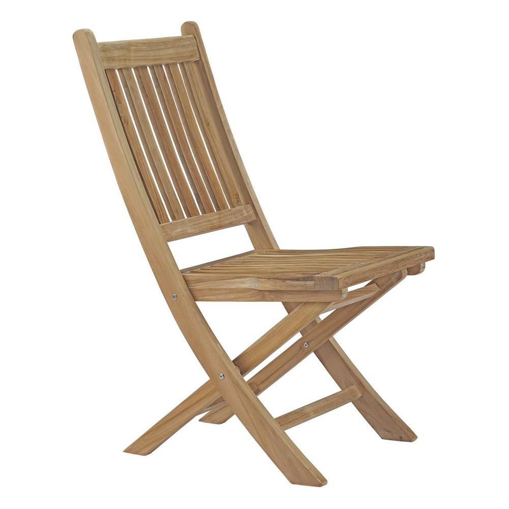 MODWAY Marina Patio Folding Teak Outdoor Dining Chair in Natural - MODWAY Marina Patio Folding Teak Outdoor Dining Chair In Natural-EEI