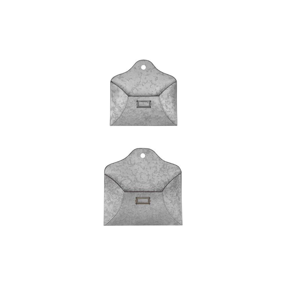 StyleWell Galvanized Metal Wall Envelope (Set of 2)