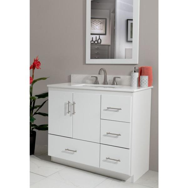 Simplicity By Strasser Shaker 36 In W X 21 In D X 34 5 In H Vanity With Right Drawers Cabinet Only In Satin White 01 132 2 The Home Depot
