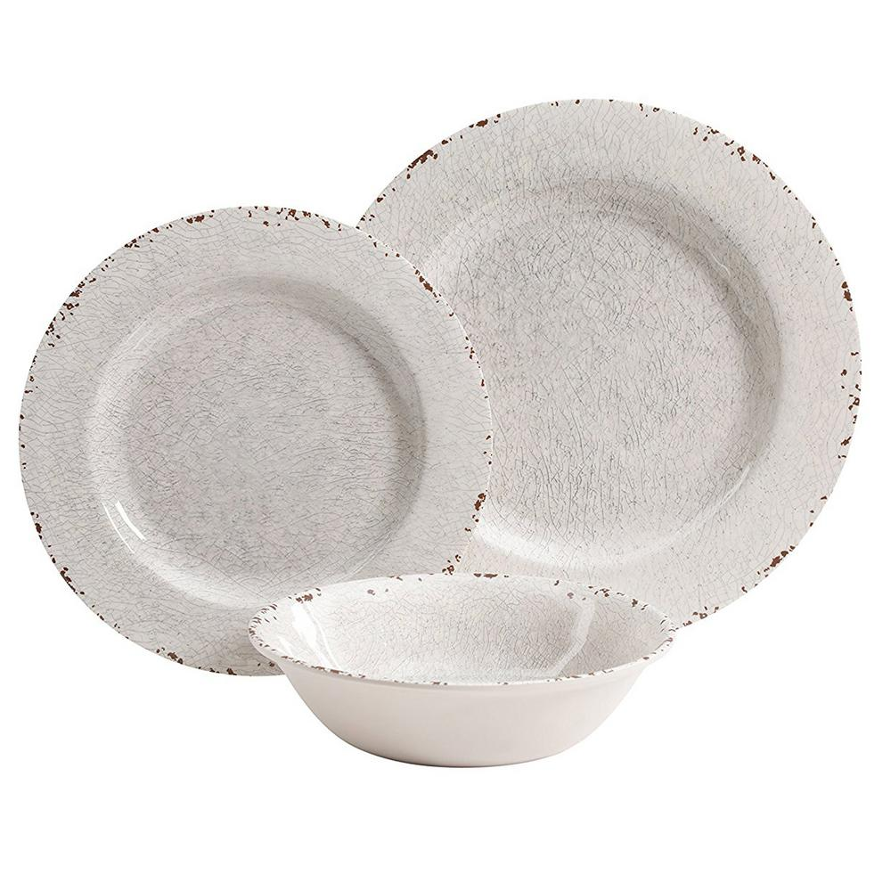 White Crackle 16Pc Dinnerware Round Kitchen Dishes Home