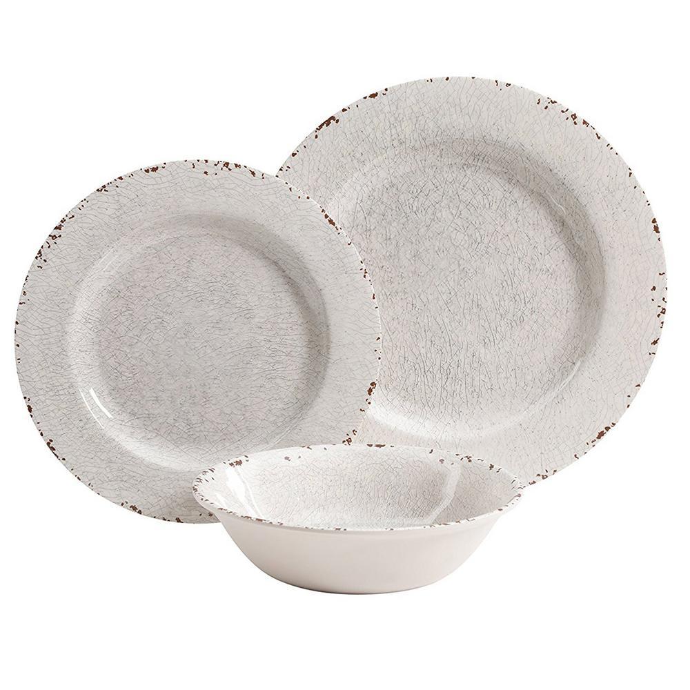 Mauna 12-Piece White Crackle Dinnerware Set
