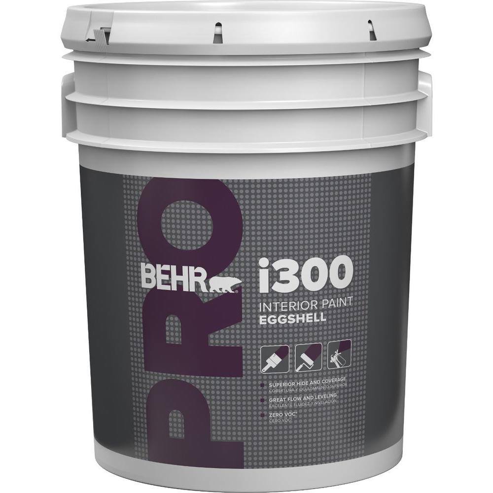 Behr pro 5 gal i300 white eggshell interior paint pr33005 for Paint pros