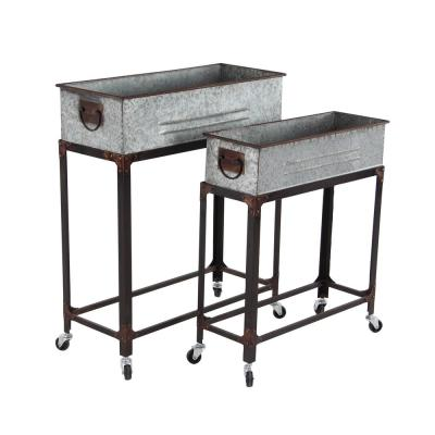 Farmhouse 24 in. and 29 in. Rectangular Galvanized Gray Rolling Planters (Set of 2)