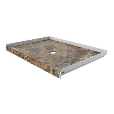 48 in. x 34 in. Single Threshold Shower Base with Center Drain in Breccia Paradiso