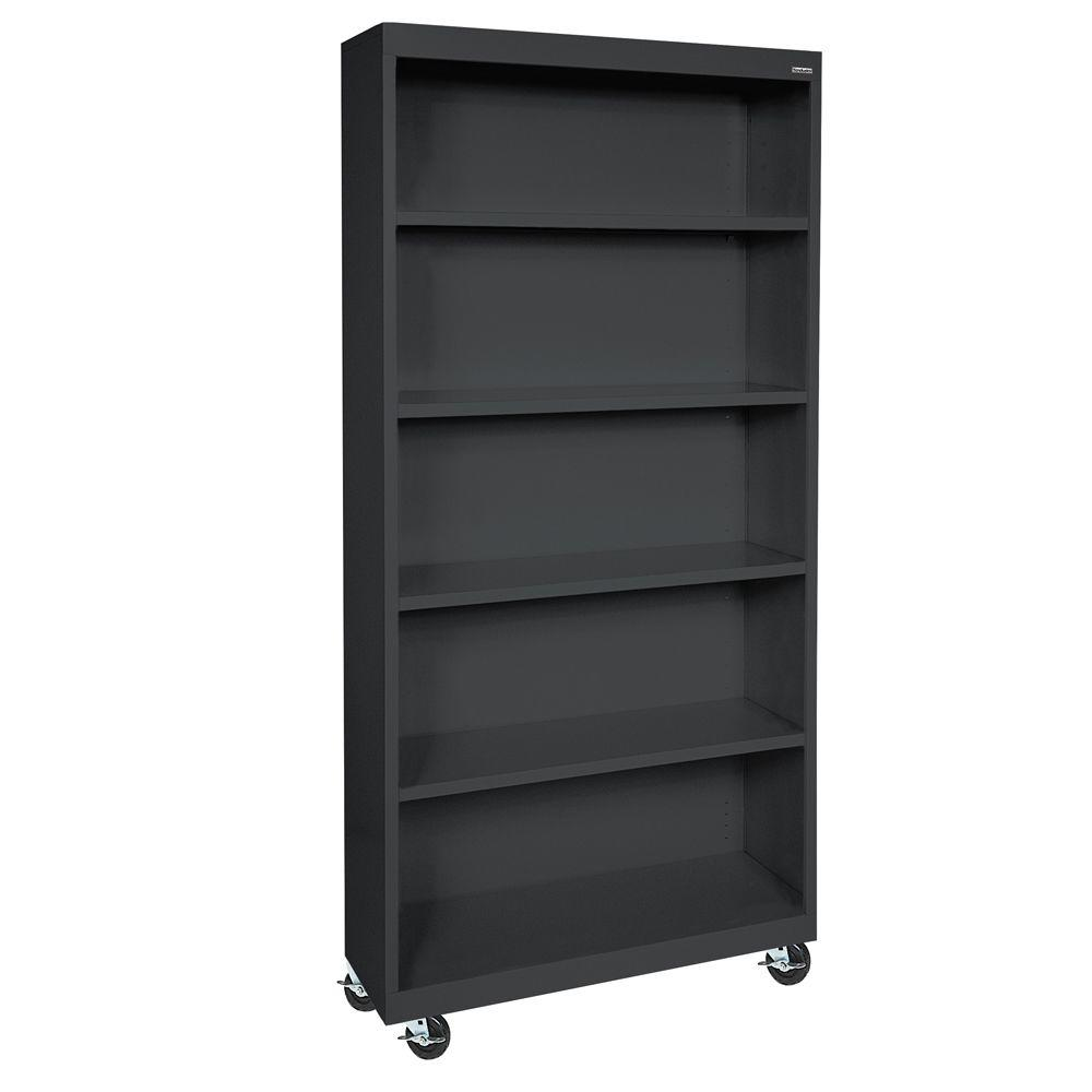 Sandusky Black Mobile Steel Bookcase