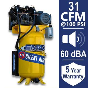 Click here to buy EMAX Industrial PLUS 80 Gal. 7.5 HP 3-Phase Silent Electric Air Compressor by EMAX.