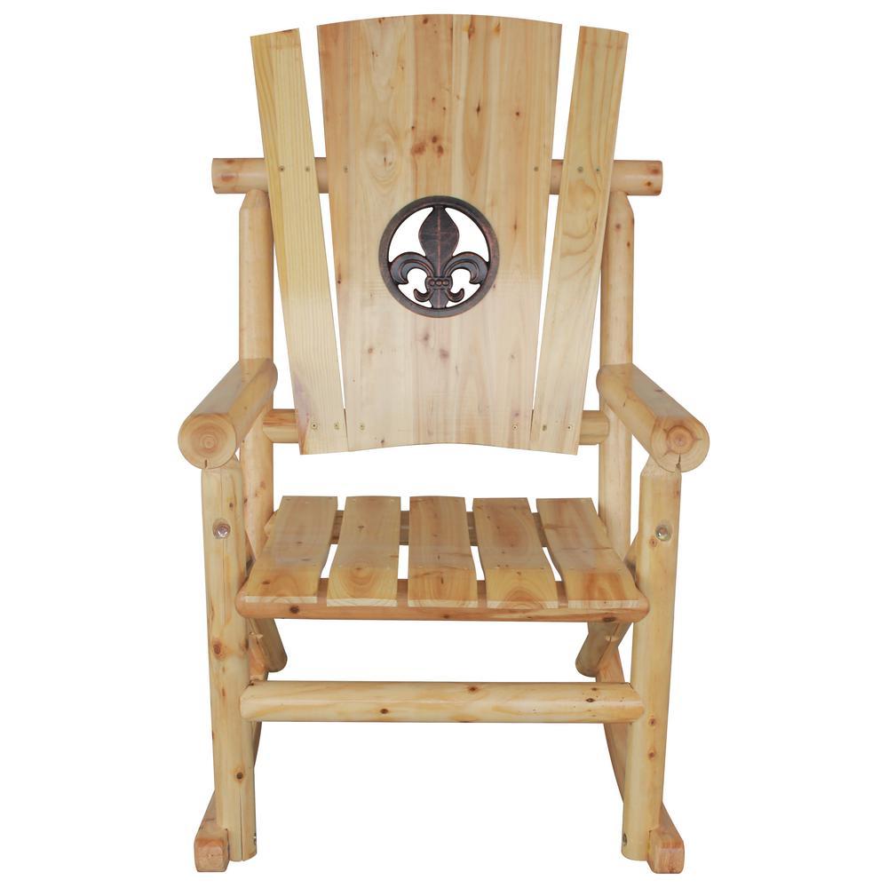 TX 95102 Aspen Patio Rocking Chair With Fleur De Lis