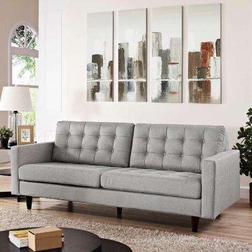 Empress Light Gray Upholstered Fabric Sofa