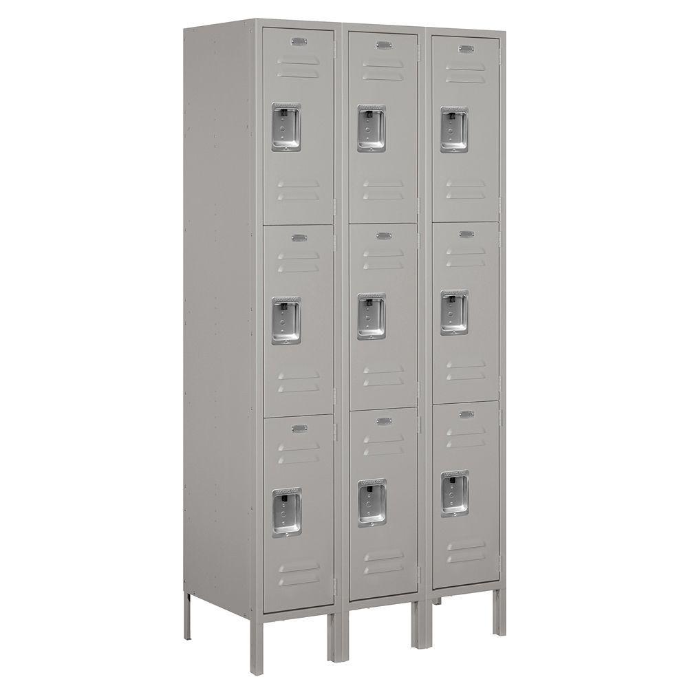 63000 Series 36 in. W x 78 in. H x 18 in. D - Triple Tier Metal Locker Assembled in Gray
