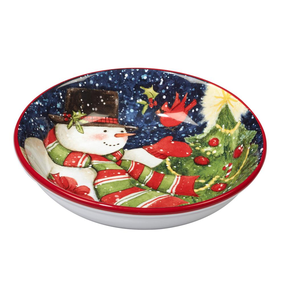Starry Night Snowman by Susan Winget 9.25 in. Soup/Pasta Bowl (Set