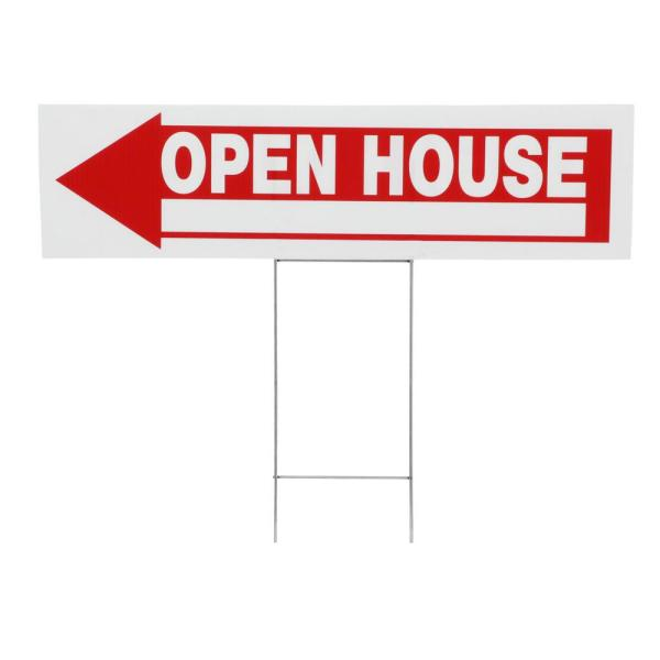 6 in. x 24 in. Plastic Open House Sign