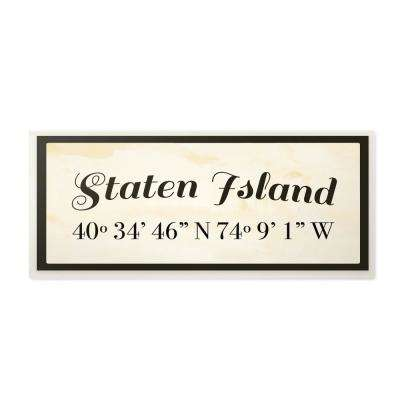 """7 in. x 17 in. """"Wood Cursive City Coordinates Staten Island"""" by Daphne Polselli Printed Wood Wall Art"""