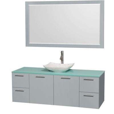 Amare 60 in. W x 22.25 in. D Vanity in Dove Gray with Glass Vanity Top in Green with White Basin and 58 in. Mirror