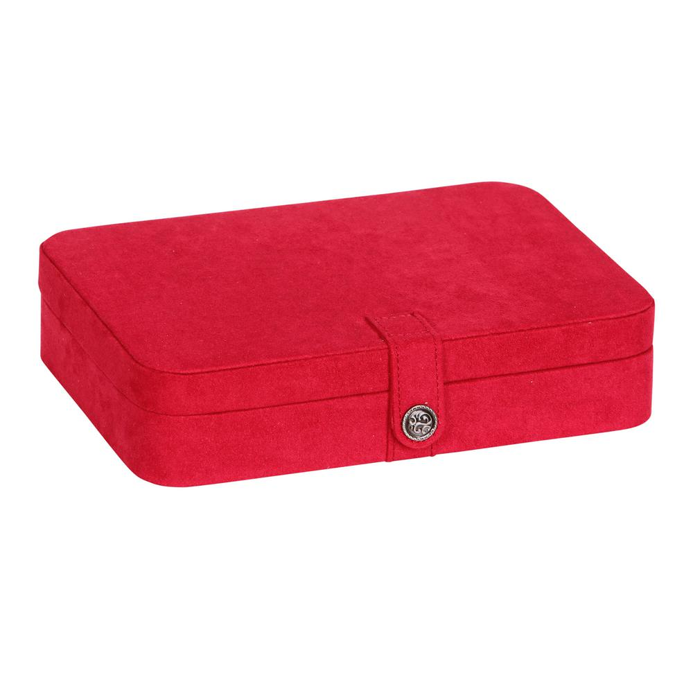 Mele & Co Maria Red Plush Fabric Jewelry Box Whether on your dresser top or on the go, the Mele & Co. Maria jewelry box offers both form and function. A delightfully plush exterior opens up to twenty-four compartments - each 1.5 in. square. Sturdy dividers keep your earrings and rings easily corralled and well organized, making selection simple and enjoyable. Dividers can also be removed from the jewelry box to make room for larger accessories. The interior lid features a mirror to help you choose just the right piece as well as a Mele & Co. logo plate, accenting the company's brand legacy. Lid also includes a shirred catch pocket for larger hoop or chandelier earrings, bracelets and more. With all the amenities in this one fashion jewelry case keeping your finery in check, you might just be tempted to buy two. Also makes a great gift for friends or any of the women in your life. Dimensions: 10-3/8 in. W x 7-1/4 in. D x 2-3/8 in. H. Color: Red.