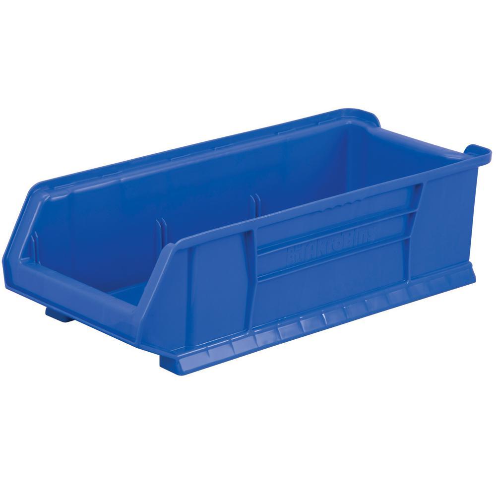 Super-Size AkroBin 11 in. 200 lbs. Storage Tote Bin in Blue with 5.0 Gal. Storage Capacity