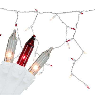 10 ft. 150-Light Red and Clear Mini Icicle Lights