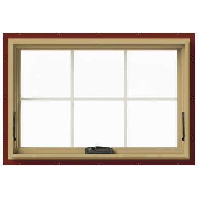 36 in. x 24 in. W-2500 Series Red Painted Clad Wood Awning Window w/ Natural Interior and Screen