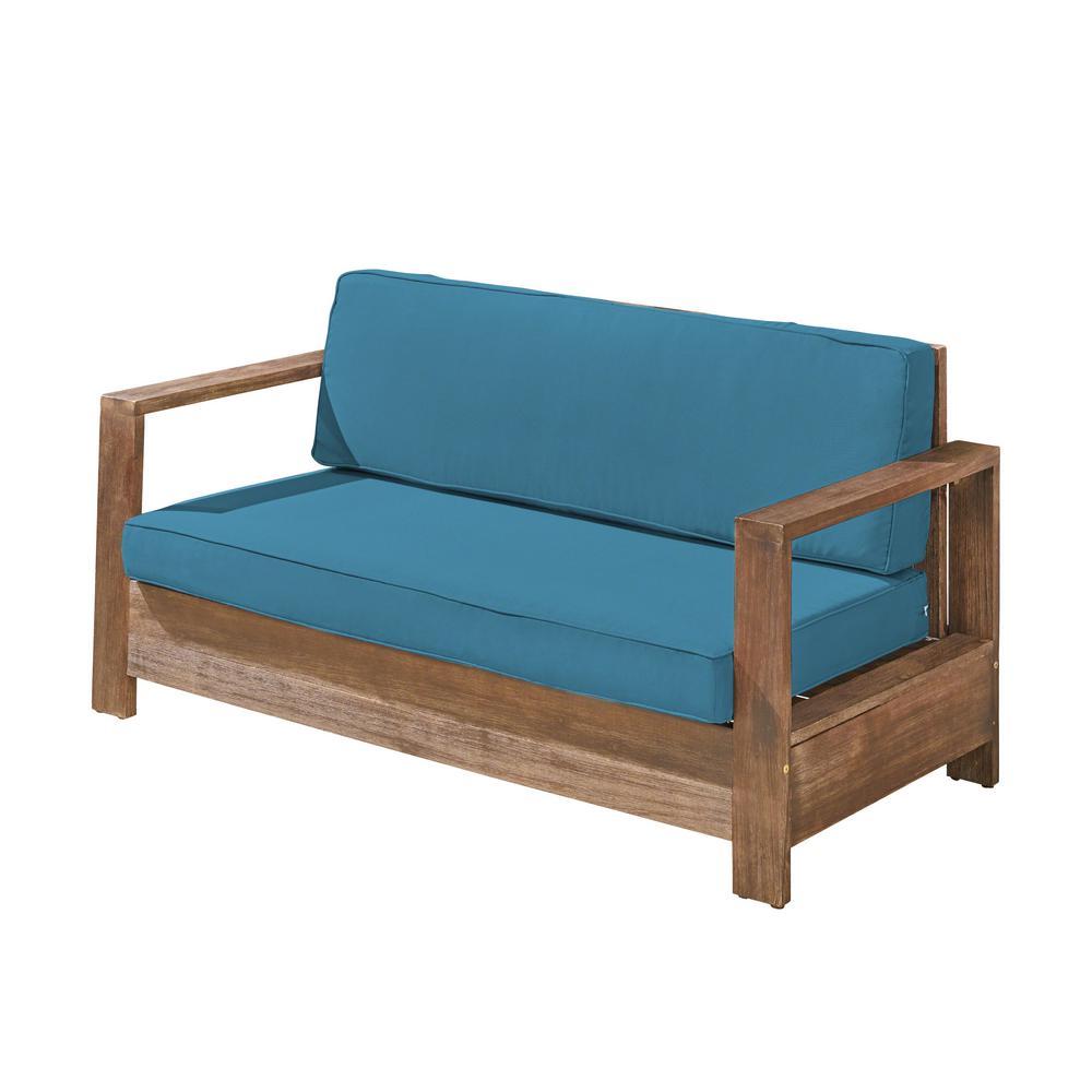 Devon Brushed Brown Wood Outdoor Loveseat with Dark Teal Cushion