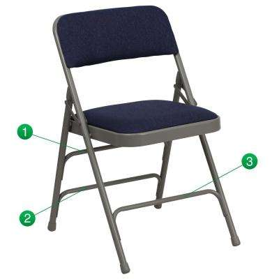 Hercules Series Curved Triple Braced & Double Hinged Navy Fabric Upholstered Metal Folding Chair
