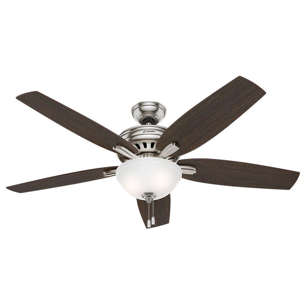 Hunter Newsome 56 In Indoor Brushed Nickel Bowl Light Kit Ceiling Fan