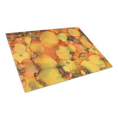 Abstract in Orange and Greens Tempered Glass Large Cutting Board