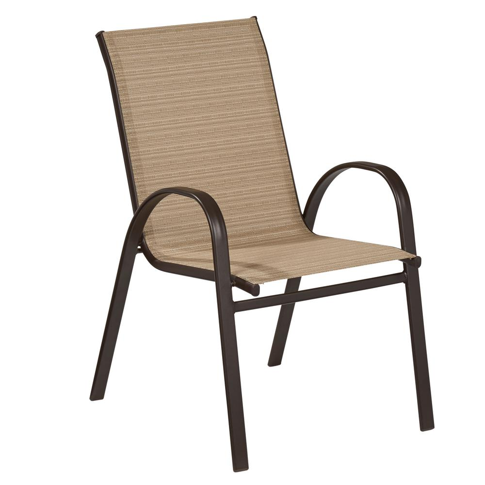 Great Hampton Bay Mix And Match Stackable Sling Outdoor Dining Chair In  Cafe FCS00015J W   The Home Depot