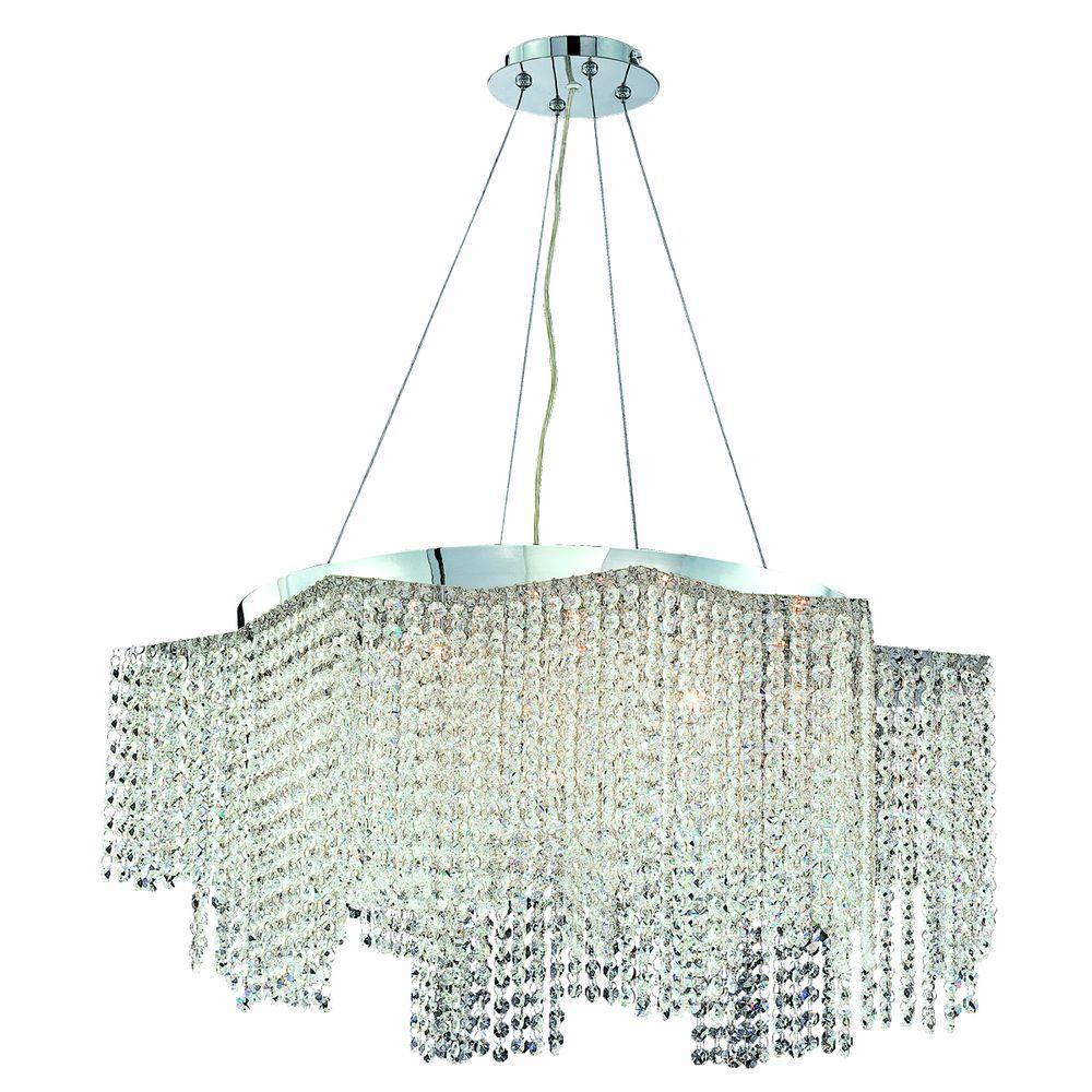 Eurofase Celestino Collection 17-Light Chrome and Clear Convertible Pendant Flushmount-DISCONTINUED