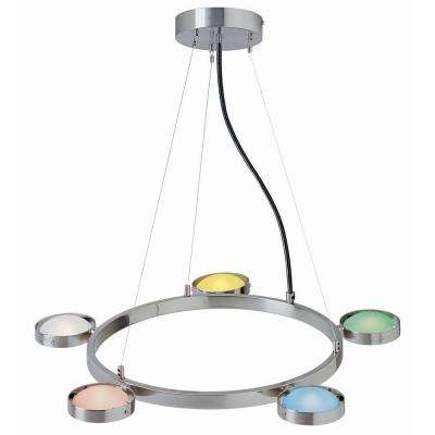 5-Light Polished Steel Lamp with Multi-Colored Glass Shade