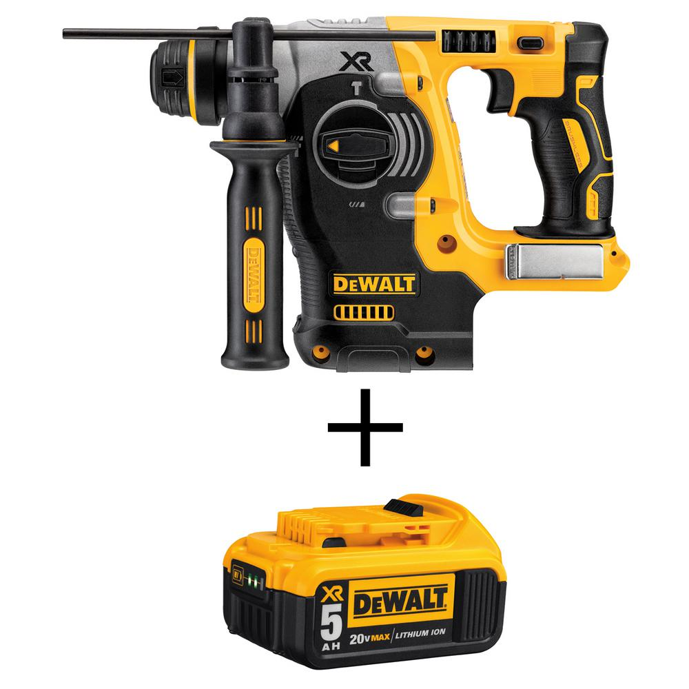 DEWALT 20-Volt MAX Li-Ion Brushless Cordless 1 in. SDS-Plus L-Shape Rotary Hammer (Tool-Only) with 20-Volt Li-Ion Battery 5 Ah