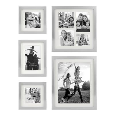 Decorative Stamped Silver Picture Frame Set, (Set of 5)
